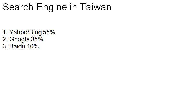 Search Engine in Taiwan