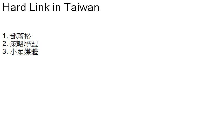 Hard Link in Taiwan